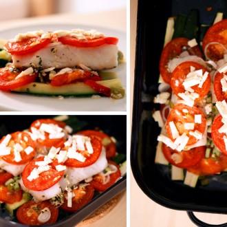 Kabeljau auf mediterranem Zucchini-Tomaten-Bett mit Frühlingszwiebeln