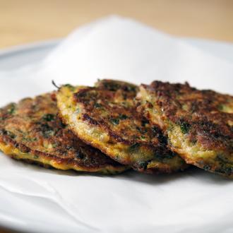 Blattspinat-Speck-Pancakes