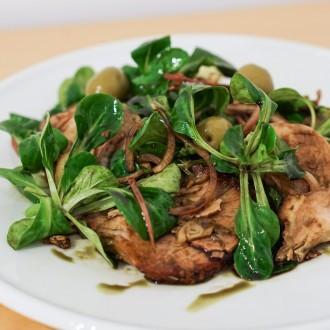 Schweinsbraten-Salat mit Kürbiskernöl